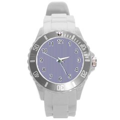 USA Flag Blue and White Stripes Round Plastic Sport Watch (L)