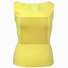 USA Flag Red and Flag Blue Stars Women s Yellow Tank Top