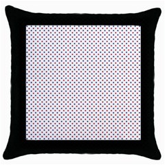 USA Flag Red and Flag Blue Stars Throw Pillow Case (Black)