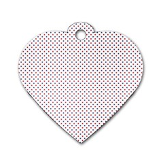 USA Flag Red and Flag Blue Stars Dog Tag Heart (One Side)