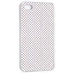 USA Flag Red and Flag Blue Stars Apple iPhone 4/4s Seamless Case (White)