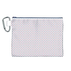 USA Flag Red and Flag Blue Stars Canvas Cosmetic Bag (L)