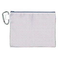 USA Flag Red and Flag Blue Stars Canvas Cosmetic Bag (XXL)