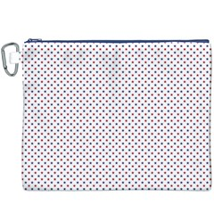 USA Flag Red and Flag Blue Stars Canvas Cosmetic Bag (XXXL)