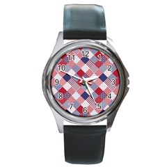 Usa Americana Diagonal Red White & Blue Quilt Round Metal Watch