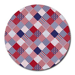 USA Americana Diagonal Red White & Blue Quilt Round Mousepads