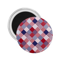 USA Americana Diagonal Red White & Blue Quilt 2.25  Magnets