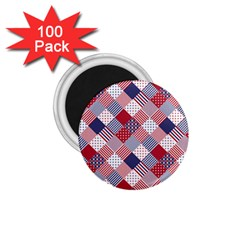 USA Americana Diagonal Red White & Blue Quilt 1.75  Magnets (100 pack)