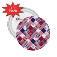 Usa Americana Diagonal Red White & Blue Quilt 2 25  Buttons (10 Pack)