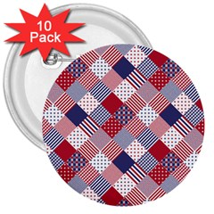 USA Americana Diagonal Red White & Blue Quilt 3  Buttons (10 pack)