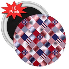 USA Americana Diagonal Red White & Blue Quilt 3  Magnets (10 pack)