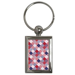 USA Americana Diagonal Red White & Blue Quilt Key Chains (Rectangle)