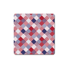 USA Americana Diagonal Red White & Blue Quilt Square Magnet