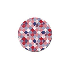 USA Americana Diagonal Red White & Blue Quilt Golf Ball Marker