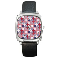 Usa Americana Diagonal Red White & Blue Quilt Square Metal Watch