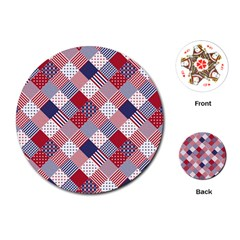 USA Americana Diagonal Red White & Blue Quilt Playing Cards (Round)