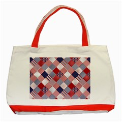 USA Americana Diagonal Red White & Blue Quilt Classic Tote Bag (Red)