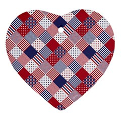 USA Americana Diagonal Red White & Blue Quilt Heart Ornament (Two Sides)