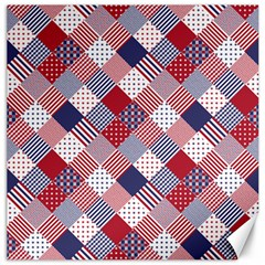 USA Americana Diagonal Red White & Blue Quilt Canvas 12  x 12