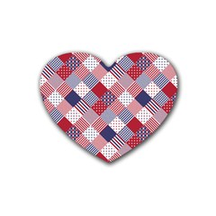 USA Americana Diagonal Red White & Blue Quilt Heart Coaster (4 pack)
