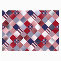 USA Americana Diagonal Red White & Blue Quilt Large Glasses Cloth