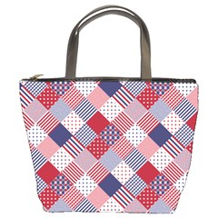 USA Americana Diagonal Red White & Blue Quilt Bucket Bags