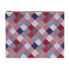 USA Americana Diagonal Red White & Blue Quilt Cosmetic Bag (XL)