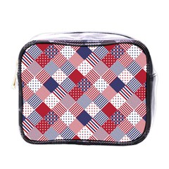 USA Americana Diagonal Red White & Blue Quilt Mini Toiletries Bags