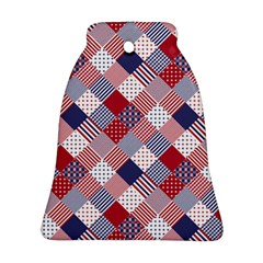 USA Americana Diagonal Red White & Blue Quilt Ornament (Bell)