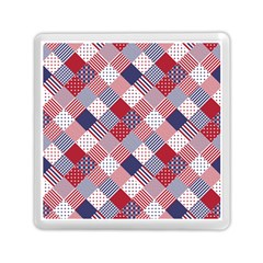 USA Americana Diagonal Red White & Blue Quilt Memory Card Reader (Square)