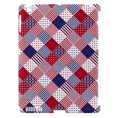 USA Americana Diagonal Red White & Blue Quilt Apple iPad 3/4 Hardshell Case (Compatible with Smart Cover)
