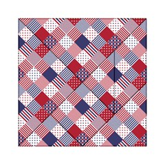 USA Americana Diagonal Red White & Blue Quilt Acrylic Tangram Puzzle (6  x 6 )