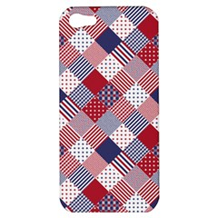 USA Americana Diagonal Red White & Blue Quilt Apple iPhone 5 Hardshell Case