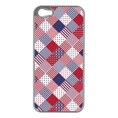 USA Americana Diagonal Red White & Blue Quilt Apple iPhone 5 Case (Silver)
