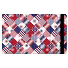 USA Americana Diagonal Red White & Blue Quilt Apple iPad 3/4 Flip Case