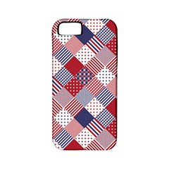 USA Americana Diagonal Red White & Blue Quilt Apple iPhone 5 Classic Hardshell Case (PC+Silicone)
