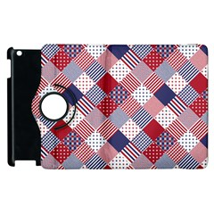 USA Americana Diagonal Red White & Blue Quilt Apple iPad 2 Flip 360 Case