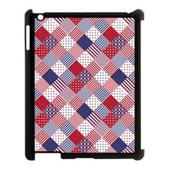 USA Americana Diagonal Red White & Blue Quilt Apple iPad 3/4 Case (Black)