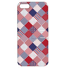 USA Americana Diagonal Red White & Blue Quilt Apple iPhone 5 Hardshell Case with Stand