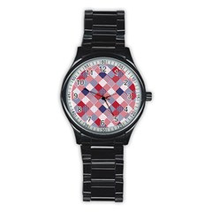 USA Americana Diagonal Red White & Blue Quilt Stainless Steel Round Watch