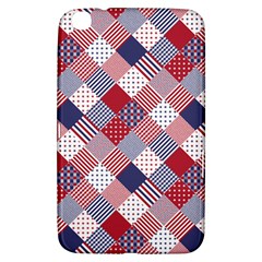 USA Americana Diagonal Red White & Blue Quilt Samsung Galaxy Tab 3 (8 ) T3100 Hardshell Case