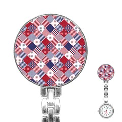 USA Americana Diagonal Red White & Blue Quilt Stainless Steel Nurses Watch