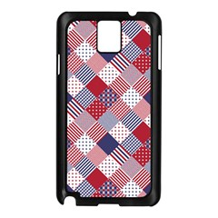 USA Americana Diagonal Red White & Blue Quilt Samsung Galaxy Note 3 N9005 Case (Black)
