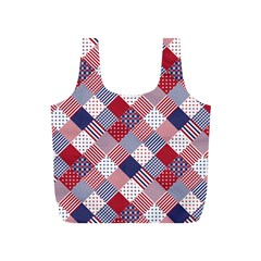 Usa Americana Diagonal Red White & Blue Quilt Full Print Recycle Bags (s)