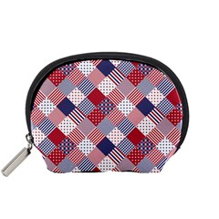 USA Americana Diagonal Red White & Blue Quilt Accessory Pouches (Small)