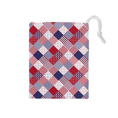 USA Americana Diagonal Red White & Blue Quilt Drawstring Pouches (Medium)