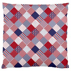 USA Americana Diagonal Red White & Blue Quilt Large Flano Cushion Case (One Side)