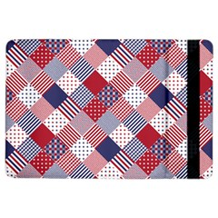 USA Americana Diagonal Red White & Blue Quilt iPad Air 2 Flip