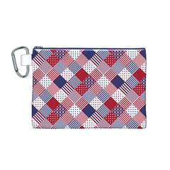 USA Americana Diagonal Red White & Blue Quilt Canvas Cosmetic Bag (M)