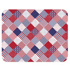 USA Americana Diagonal Red White & Blue Quilt Double Sided Flano Blanket (Medium)